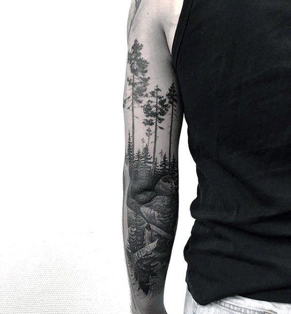Manly Forest Arm Tattoos For Guys
