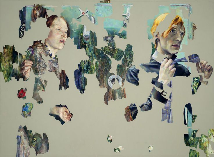 Agnes Toth - oil on canvas, but owes a lot to collage.