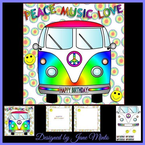 A colourful fun card for the happy hippy in your life!  This mini kit comes with:  The main image of a tie dye effect camper van, on a colourful background, the writing at the top says: PEACE MUSIC LOVE.  There's parts to do a layer of decoupage.  4 sentiments that go on the reg plate: HAPPY BIRTHDAY, HIPPY BIRTHDAY, HAPPY FATHER'S DAY, HAPPY MOTHER'S DAY, there's already a blank one on the camper to add a name or age.  Two inserts: one with no text and one with HAPPY BIRTHDAY...