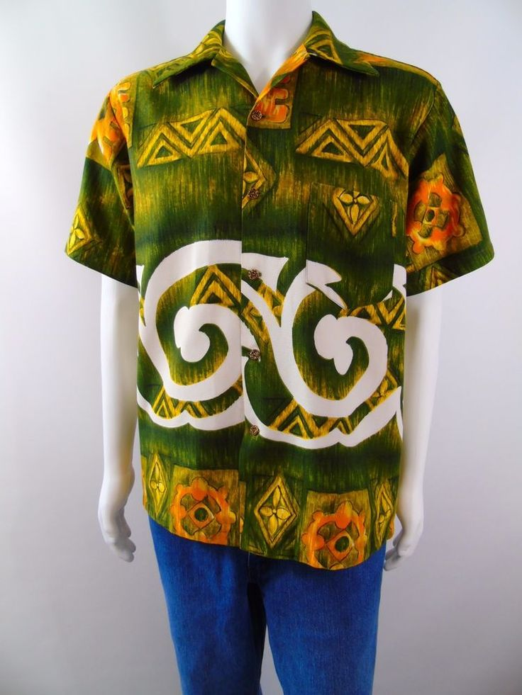 Mens Vintage 60s Evelyn Margolis Hawaiian Surf Textured Cotton Aloha Shirt M/L  #EvelynMargolis #Hawaiian #Casual