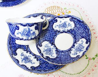 Cobalt blue and white teaset: early English china, 1 tea cup, 1 saucer and 1 plate. A timeless tea set to collect and use.