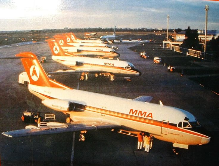 MMA - MacRobertson-Miller Airlines F.28s on the flight line, Perth Airport