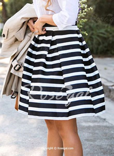 Fashionable High-Waisted Striped Women's Ball Gown Skirt