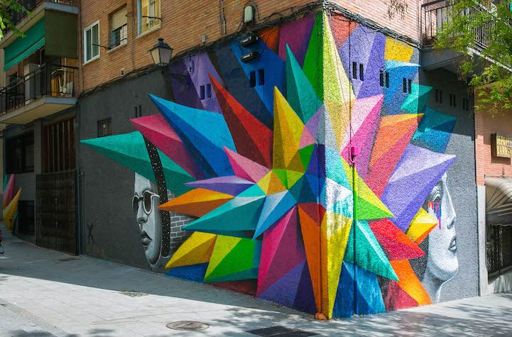 Vibrant Geometric Street Art by Okudart in Madrid