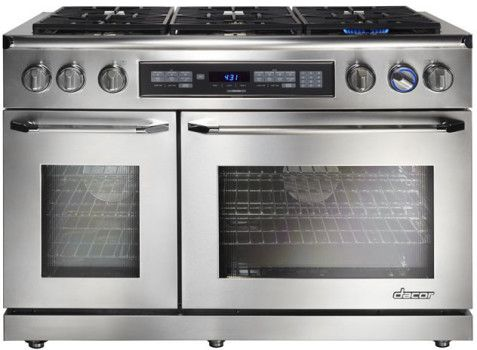 Dacor ER48D 48 Inch Freestanding Dual-Fuel Range with 4.6 cu. ft. Primary Oven Capacity, 3,500 W Broil Element, 6 Sealed Burners, 18,000 BTU, Digital Temperature Probe, and Pure Convection System
