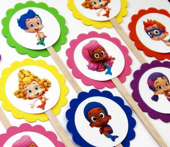 Bubble Guppies Cupcake Toppers . Bubble by TheBlissfulBaker