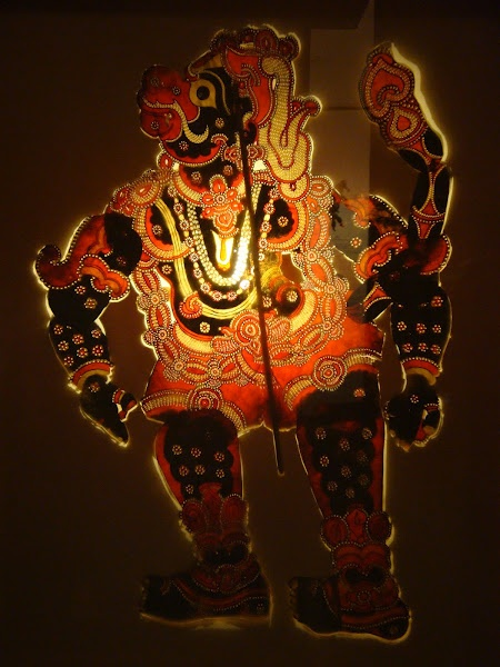 Leather Puppet from Andhra Pradesh:   Combination of frontal and profile. Reference for Hanuman