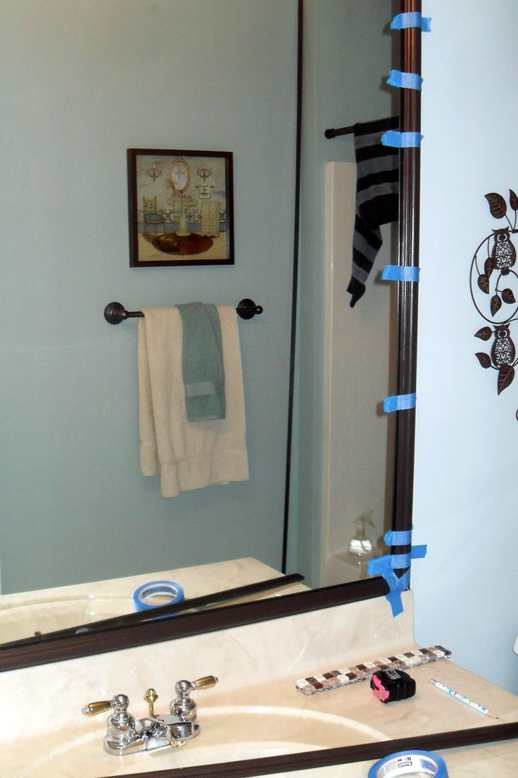Bathroom mirror ideas diy - My Bff Kerry And I Just Finished Framing Her Bathroom Mirror It S Definitely One Of My Favorite Diy Project So Far I Have Seen Moulding Put On Builder