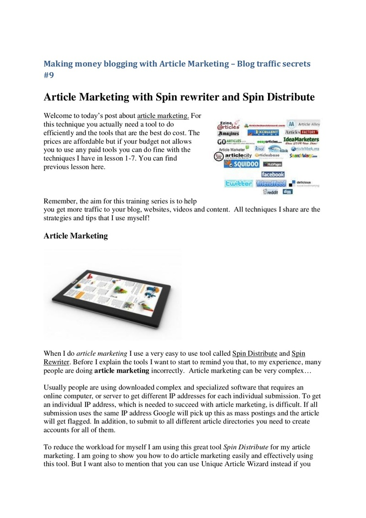 making-money-blogging-with-article-marketing by pmkab77 via Slideshare