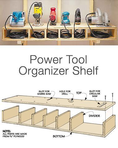 """Garage Storage on a Budget • Ideas and tutorials, including """"how to make an organizer tool shelf"""" by 'Woodworking Tips'..."""