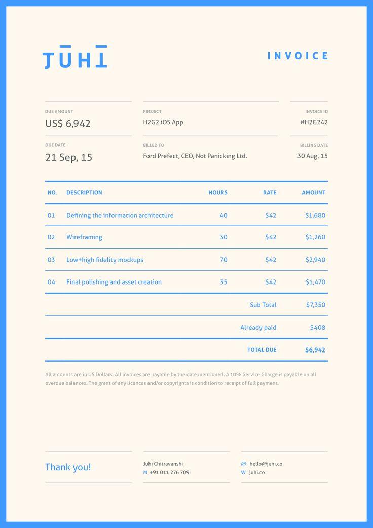 Juhi Chitravanshi — Invoice modern bright colorful minimal invoice