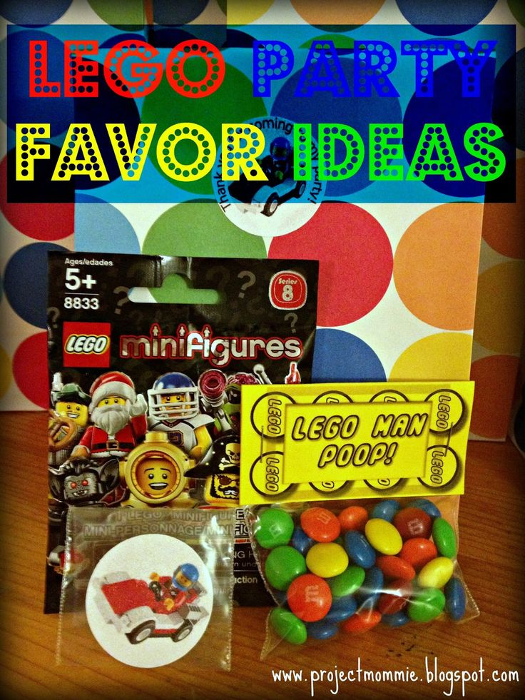 Lego party favor ideas. AH!!! LOVE the Lego man poop....need mini M's for it though!