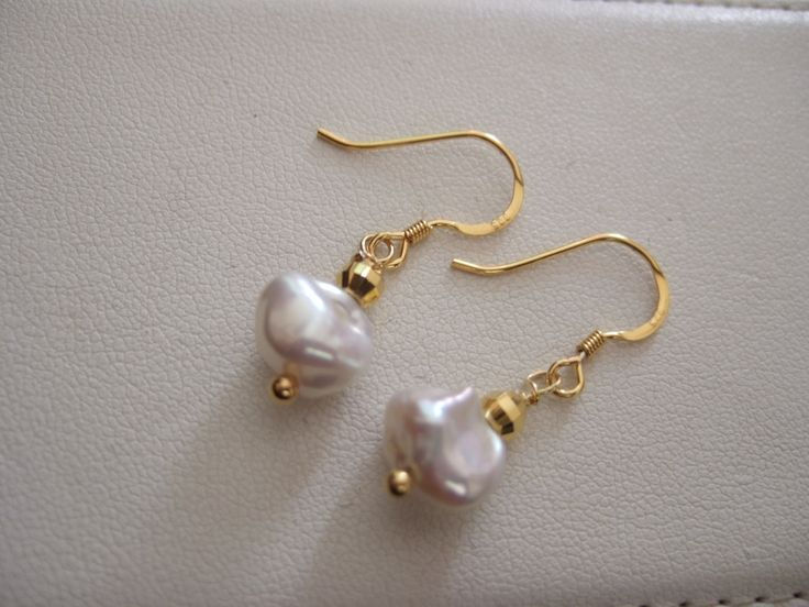 Freshwater Cultured Pearl Nugget Drop Earrings with Gold Plated Sterling Silver…