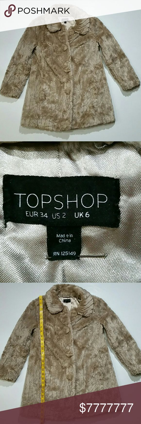 50% on 3+ Topshop Size 2 Tan Vegan Fur Coat Topshop Tan Vegan Fur Coat,  Gorgeous soft Topshop fur coat with fur buttons. 2 angle pockets. Outside is in great condition, some light pilling scratching on the interior satin. (2-19) Topshop Jackets & Coats