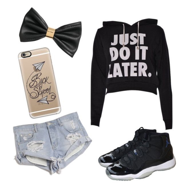 High top Jordan's by jrodriguez198130 on Polyvore featuring polyvore, fashion, style, One Teaspoon, NIKE, Casetify, H&M and jordans