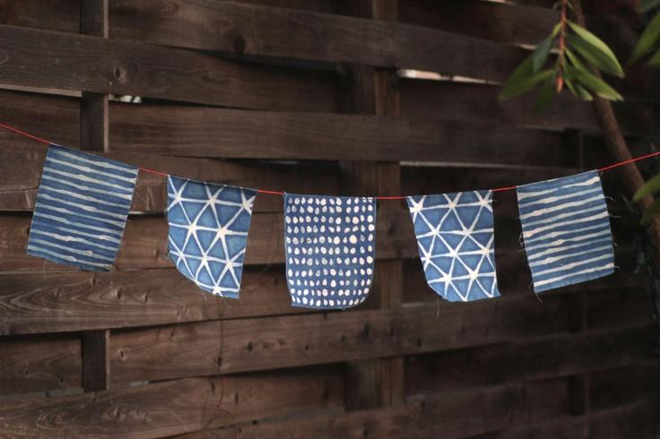 fanny penny - indigo batik flags + hemp twine