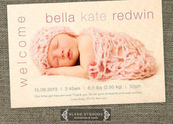 Welcome baby birth announcement photo cards. by SladeStudios, $16.50