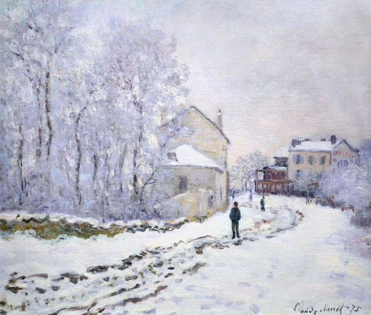 ۩۩ Painting the Town ۩۩ city, town, village & house art - Claude Monet | Snow at Argenteuil, 1875