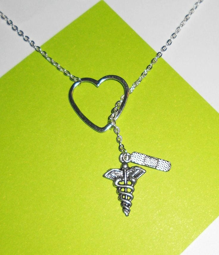 Silver Medical, Nurse, Doctor Necklace with Heart, Bandaid, and Caduceus Charms, handmade jewelry: Silver Medical, Nurses, Band Aid, Caduceus Charms, Doctor Lariat, Lariat Necklace, Athletic Training