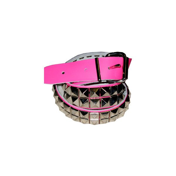 Emo, scene Kid & hardcore punk pyramid belts, studded belts and... ❤ liked on Polyvore featuring belts, accessories and pink