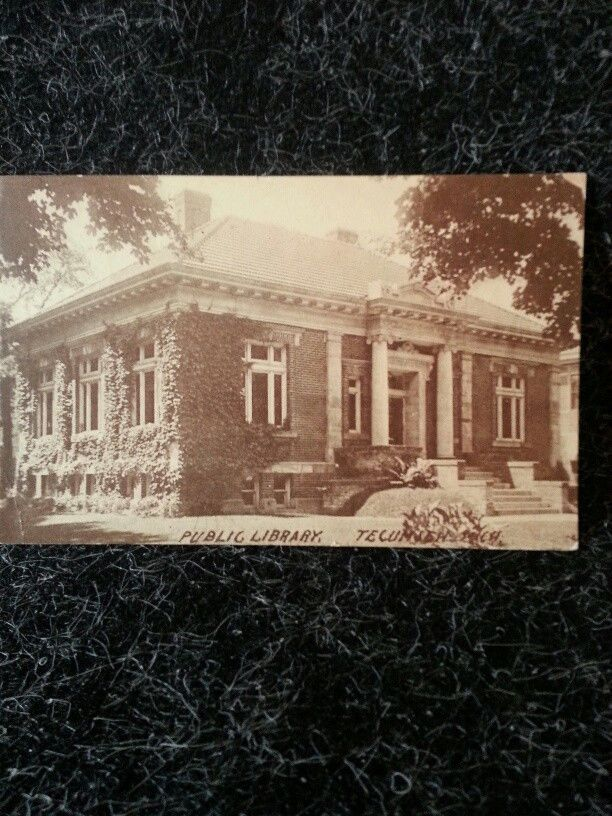 1913 OLD VINTAGE USED POSTCARD Public Library Clinton Michigan MI Postmark