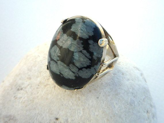Sterling Silver and Snowflake Obsidian ring. by Iridonousa on Etsy