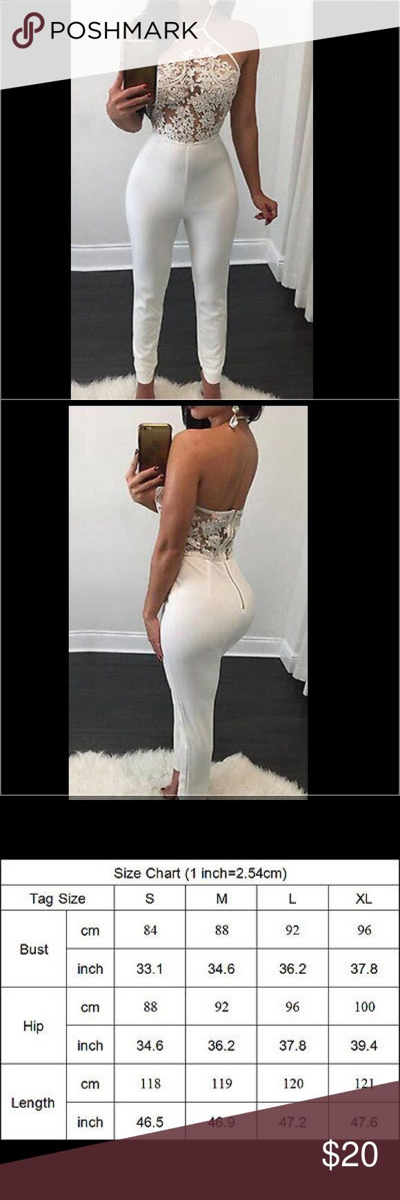 White Mesh Lace club Bodycon Jumpsuit Romper Ties in the back (halter.) new without tags. I'm 5'5 and it fit but I wouldn't recommend being any taller. Pants Jumpsuits & Rompers