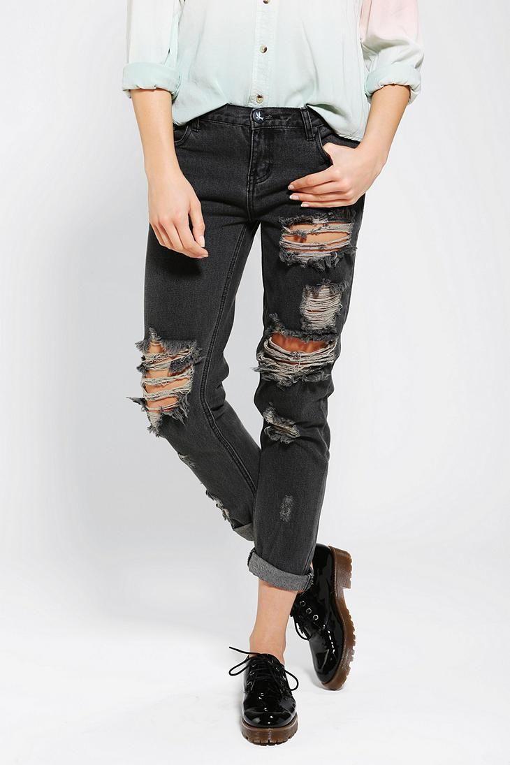 One Teaspoon slouchy fit shredded jean. #urbanoutfitters