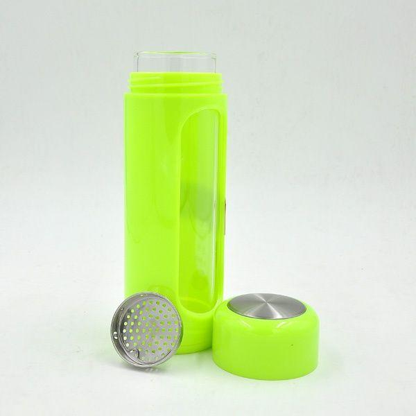 真空保温茶こしガラスボトル360ml,12oz滑り止めカバーカラフル