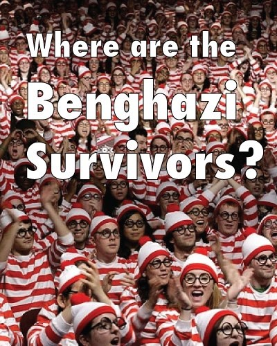 Finding Waldo would be easier!  Three dozen Benghazi survivors, and no one has been able to find them. http://www.thenationalpatriot.com/2013/03/21/benghazi-survivors-wheres-the-damn-movie/