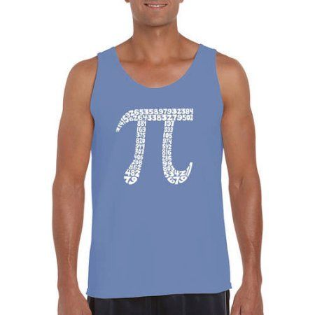 Los Angeles Pop Art Men's Tank Top - The First 100 Digits Of Pi, Size: Medium, Red