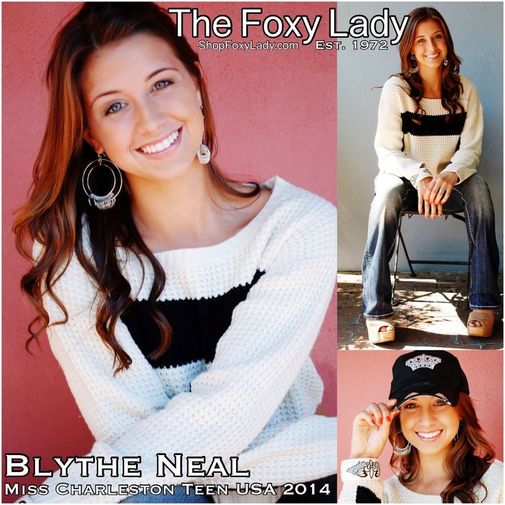 #MissCharlestonTeenUSA, Blythe Neal modeling #ShopFoxyLady! Comfy-meets-cool-chic is how we describe Blythe in our #cotton #crop #sweater with #bold #black #stripe!($42), and washed #denim #jeans ($78) What is more fitting for a #sports lovin' #queen than a #baseballcap with a #bedazzled #crown! ($48).  All sizes available, call #TheFoxyLady 843-692-7022 to reserve yours! #MissTeenUSA #charleston #southcarolina #ShopFoxyLady