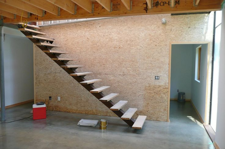 """Stairs w/Temporary Treads I designed these stairs to try to """"tread"""" lightly (pun intended ;-) on the space and to have as light a presence as possible. When we installed the steel strin…"""