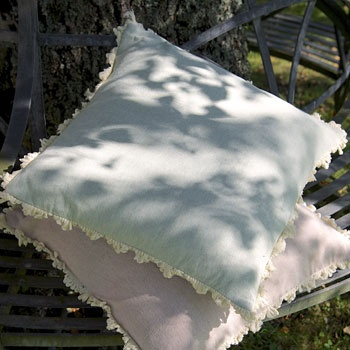 Plain Linen Cushions (Duck Egg and Pale Rose) by Susie Watson