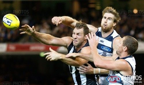 Tom Lonergan thrashed Travis Cloke's arse again .....AFL Media Image Preview