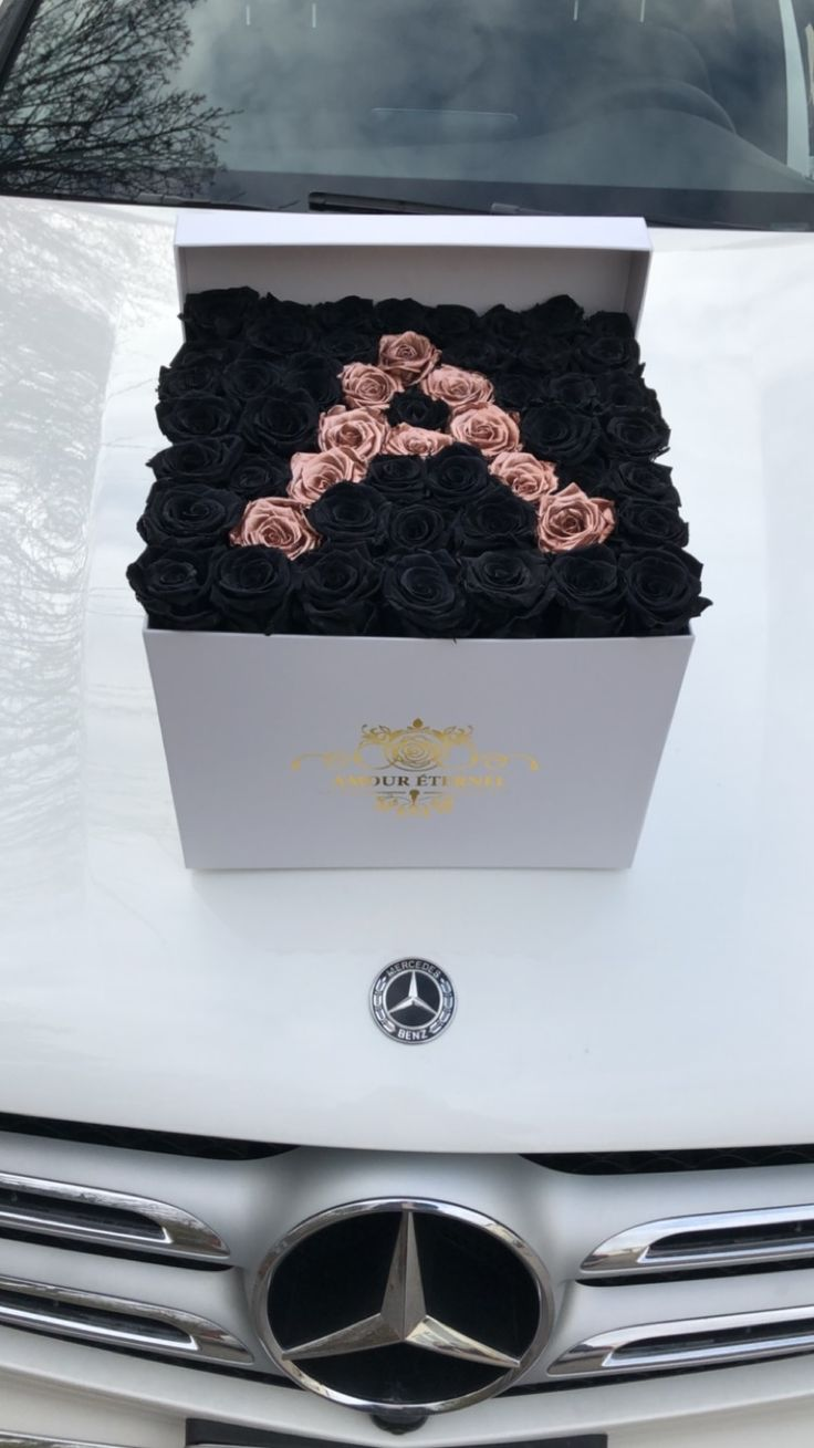 Box of black eternity roses with rose gold!