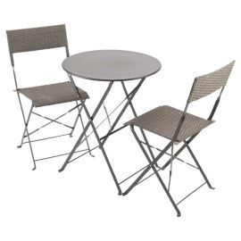 buy taupe steel rattan folding garden bistro set grey from our rattan garden furniture