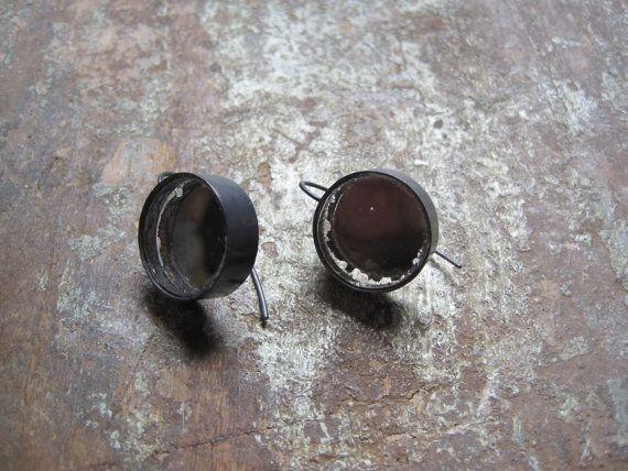 Orecchini in argento ossidato con specchio antico di arkeogioielli, €90.00