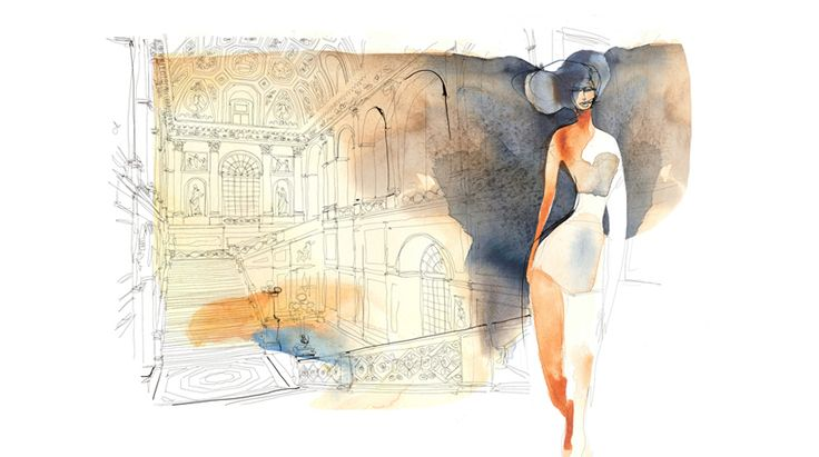 Watercolor ilustration for wallpaper, woman and palace, interior