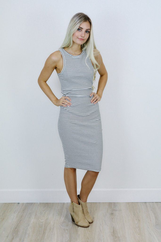 White and olive striped tank midi length form fitting ...