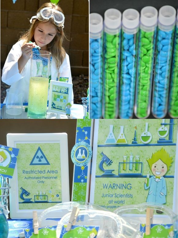 Mad Scientist birthday party science party with DIY decorations, printables, food and fun! #masscientist #kidsbirthday #scienceparty #sciencebirthday