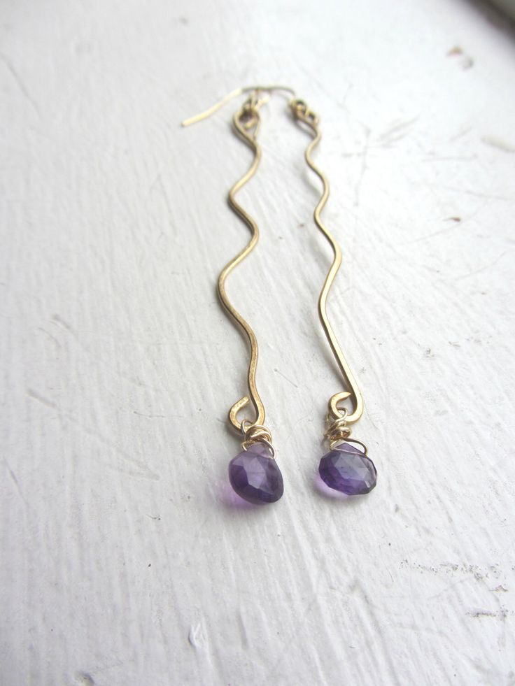 Excited to share the latest addition to my #etsy shop: Amethyst Earrings, Amethyst Gold Earrings, February Birthday, February Gemstone, February Birthday Gift, REAL Gemstones