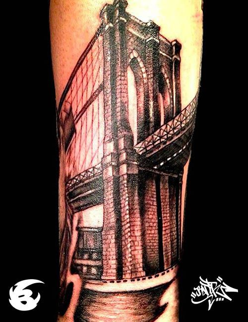 Architecture tattoos brooklyn bridge brooklyn for Club ink tattoo brooklyn