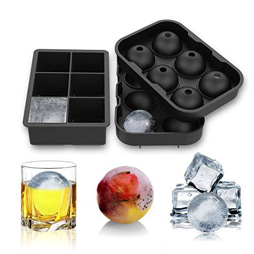 E-POWIND Ice Cube Trays -2 Pack Food Grade Silicone Round Spheres Ice Mold for Whiskey Cocktail Soft Drinks (Black) ** Visit the image link for more details.