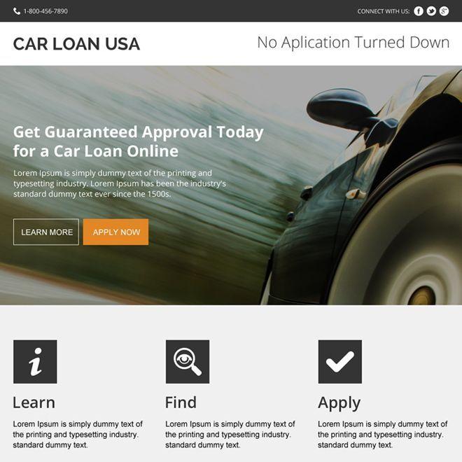 Instant Car Loan Approval Modern Landing Page Design Car Loans Landing Page Design Page Design