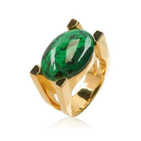 """Always inspired by stones themselves, this mesmerizing gold plated cocktail ring was designed in conjunction with the deep green """"MAW SIT S..."""