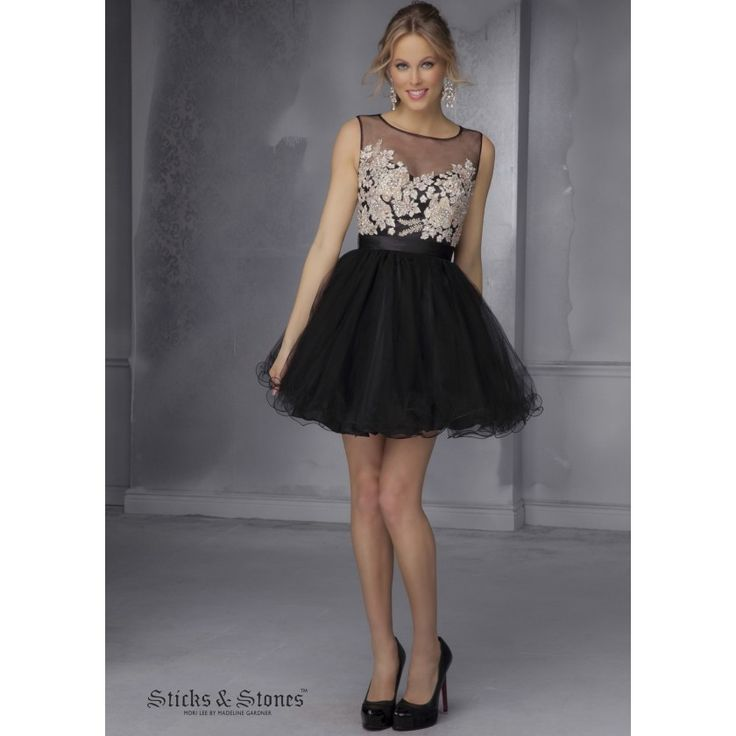 Mori Lee 9285 Lovely Black Floral Party Dress