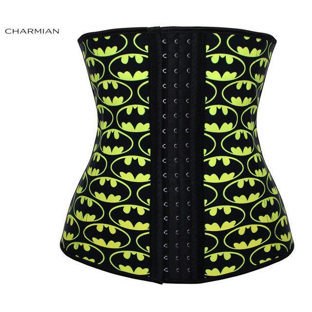 Charmian Women's Plus Size Latex Underbust Corset 4 Steel Bones Hooks Hourglass Waist Trainer Body Shaper Shapewear