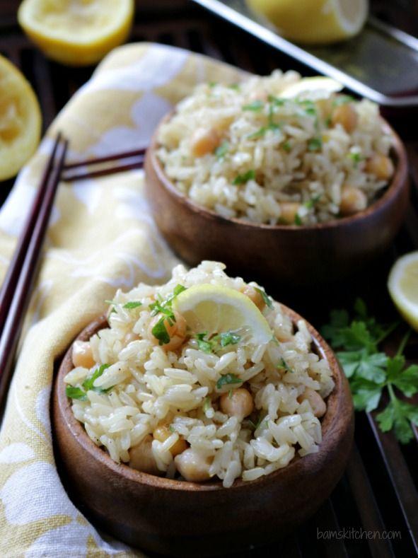 Vegan Chickpea Lemon Rice / http://bamskitchen.com