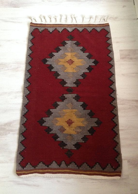 Turkish Kilim Rug Small Kilim Rug Door Mat Rug Red Kilim